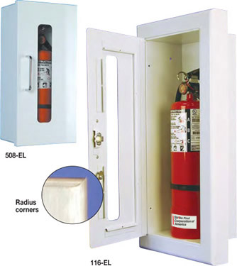 10 lb. Titan Semi-Recessed Full Glass Aluminum Fire Extinguisher Cabinet